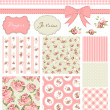Stok Vektör: Vintage Rose Pattern, frames and cute seamless backgrounds.