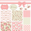 Stock vektor: Vintage Rose Pattern, frames and cute seamless backgrounds.