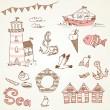 Sea doodles — Stock Vector