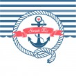 Cute Nautical Background with anchor, rope, flag and a heart - Stock Vector