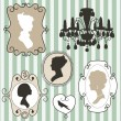 Cute vintage frames with ladies silhouettes — 图库矢量图片