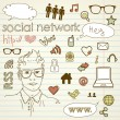 Social media network connection doodles — Stock Vector #11512041