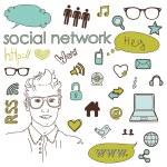 los medios de comunicación sociales de la red conexión garabatos — Vector de stock