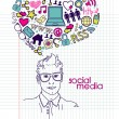 Social network doodles. - Stock Vector