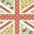 Stock Vector: Cute British Flag in Shabby Chic floral style