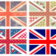 Stock Vector: 4 Cute British Flags in Shabby Chic floral and vintage style