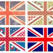4 Cute British Flags in Shabby Chic floral and vintage style — Stock Vector #11512185
