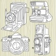 Hand drawn old camera set, all time legends — Stock vektor