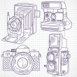 Cool hand drawn old camera set, all time legends — Imagen vectorial