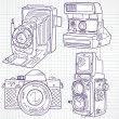 Cool hand drawn old camera set, all time legends — Stock Vector