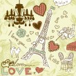 LOVE in Paris doodles — Vector de stock