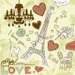 LOVE in Paris doodles — Stock Vector
