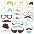 Happy Father day background, spectacles and mustaches, retro style — Stock Vector
