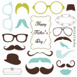 Stock Vector: Happy Father day background, spectacles and mustaches, retro style