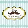 Stock Vector: Happy Father day background with fancy mustache, retro style