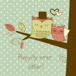 Two cute owls on the tree branch, Romantic Wedding Card - Stok Vektör