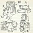 Cool hand drawn old camera set, all time legends — Stock Vector #11512883
