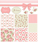 Vintage Rose Pattern, frames and cute seamless backgrounds. — Stok Vektör