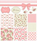 Vintage rosa patrón, marcos y fondos inconsútiles lindos. — Vector de stock