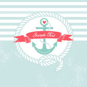 Cute Nautical Background with anchor, rope, flag and a heart — Stock Vector