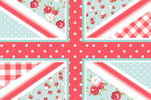 Cute British Flag in Shabby Chic floral style — Stockvector