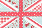 Linda bandera británica en un estilo floral shabby chic — Vector de stock