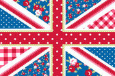 Cute British Flag in Shabby Chic floral style — Stock Vector