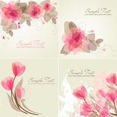 Pembe ve beyaz renklerde 4 romantik çiçek arka kümesi. — Stok Vektör