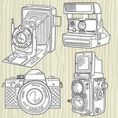 Ensemble de caméra vieux dessinés à la main, toutes les légendes du temps — Vecteur