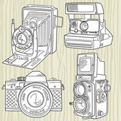 Hand drawn old camera set, all time legends — Stock Vector
