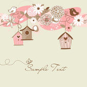 Beautiful Spring background with bird houses — Cтоковый вектор