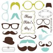 Ojciec szczęśliwy dzień tło, okulary i wąsy, w stylu retro — Wektor stockowy