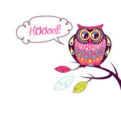 "Cute Vector Owl. ""Hoooot"" card — Vector de stock"