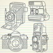 Ensemble de caméra vieux cool dessinés à la main, toutes les légendes du temps — Vecteur