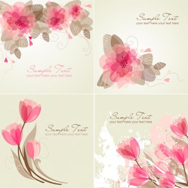 Set of 4 Romantic Flower Backgrounds in pink and white colours.