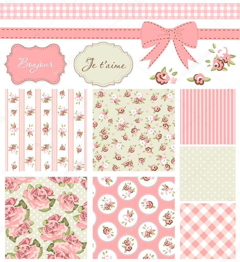 Vintage rose pattern frames and cute seamless backgrounds stock vector alisafoytik 11511920 - Chambre vintage rose ...