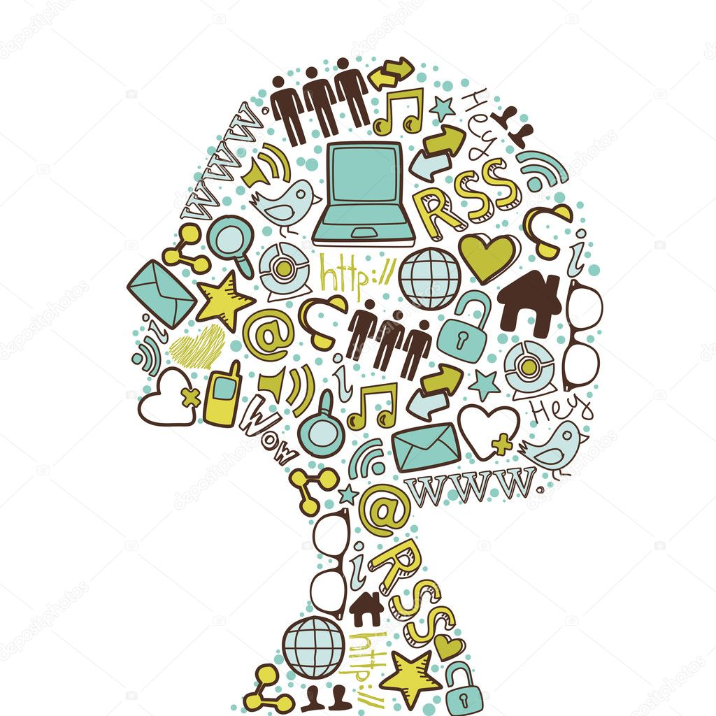 Woman head silhouette made with social media icons set. — Stock Vector #11512056