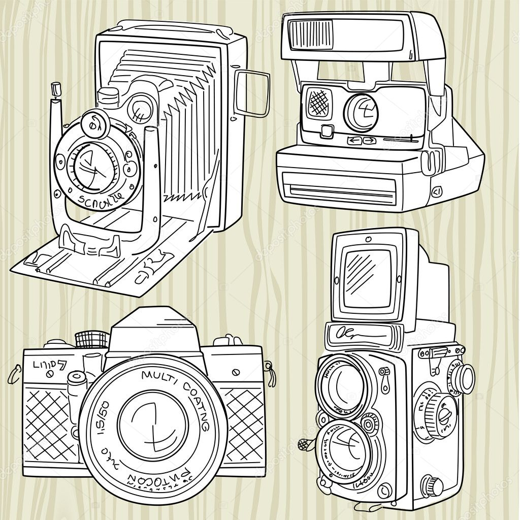 Hand drawn old camera set, all time legends — Stock Vector #11512318