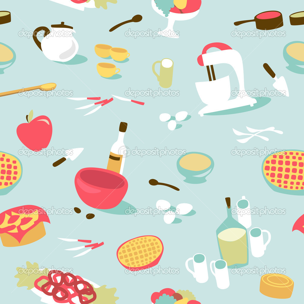 Retro seamless kitchen pattern stock vector for Kitchen print wallpaper