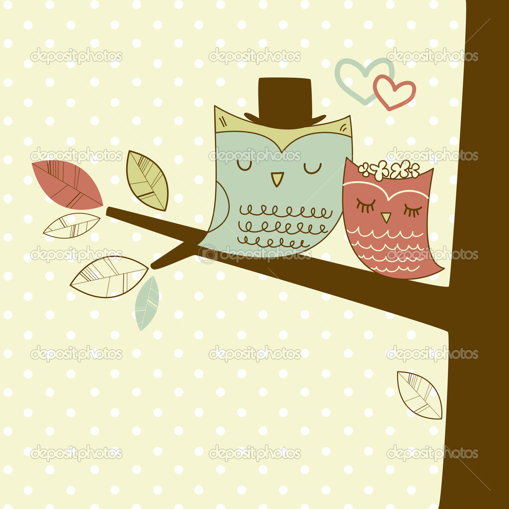 Two cute owls on the tree branch, Romantic Wedding Card — Imagen vectorial #11512804