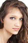 Portrait of beautiful young woman close up — Stock Photo
