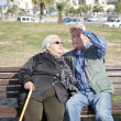 Happy elderly couple at park — Stock fotografie