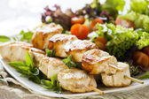 Chicken Skewers with Salad — Stock Photo