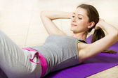 Young Woman Working On Her Abs — Stock Photo