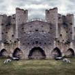 Mighty Medieval City Wall defences. Panorama — Stock Photo