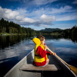 Child canoeing on lake — Stock Photo