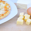 Pizza, cheese and egg. — Foto Stock