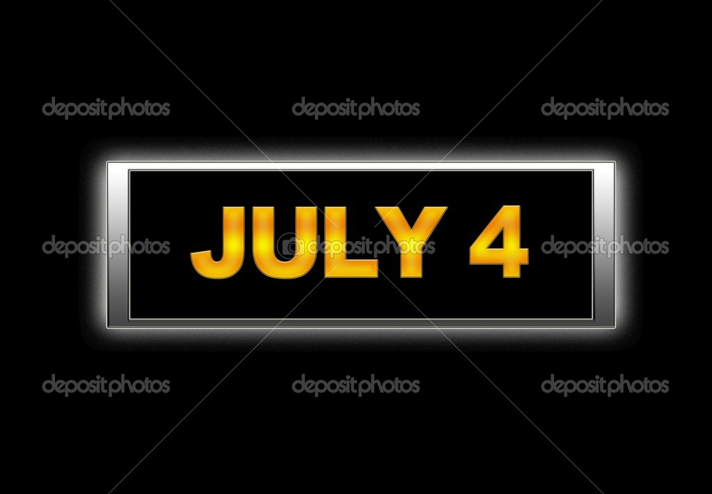 Illuminated sign with July 4. — Stock Photo #11281730