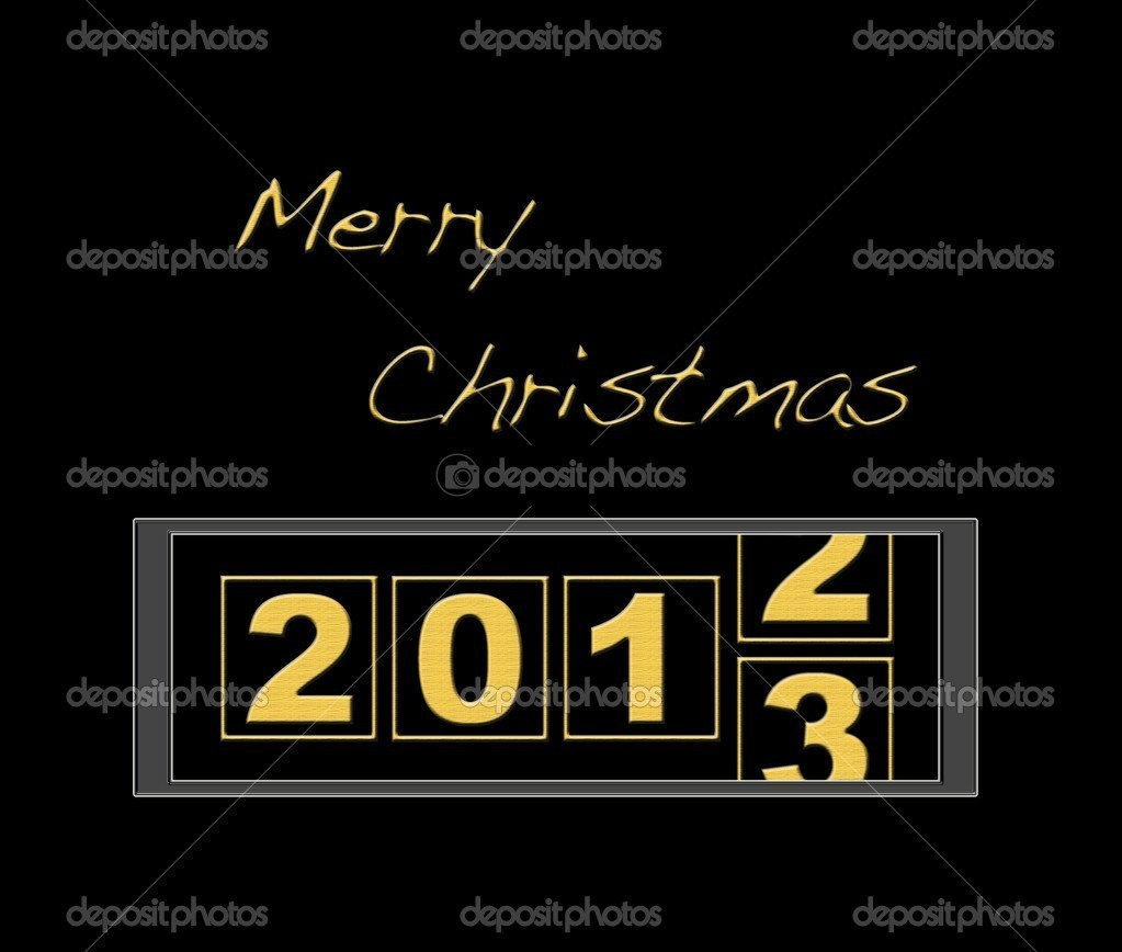 Illustration with counter merry christmas year 2013.  Stock Photo #12375217