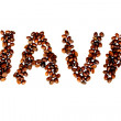 Coffee Beans Spell Out Java on Pure White Background - Stock Photo